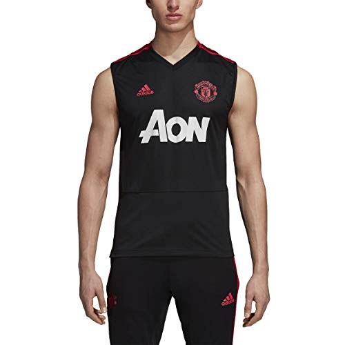 adidas World Cup Soccer Manchester United Soccer Manchester United FC Sleeveless Jersey, Medium, Black