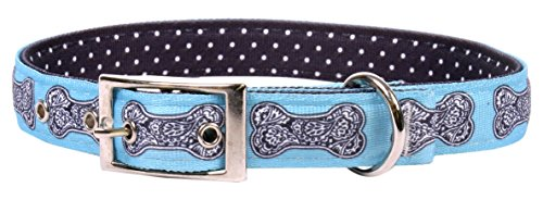 Yellow Dog Design Bella Bone Blue Uptown Dog Collar Fits Neck 11 to 14.5