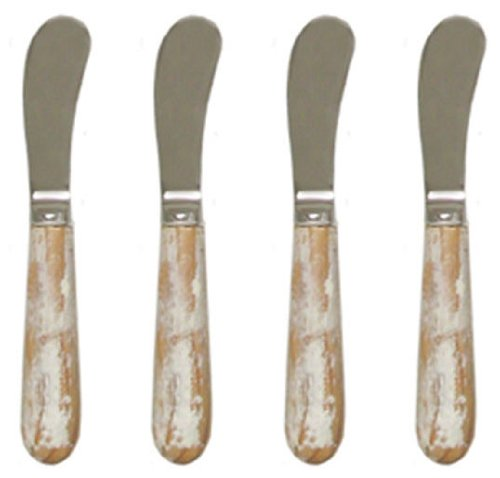 Pate Knife w/ Whitewashed Wood Handle, Set of 4 - Whitewash