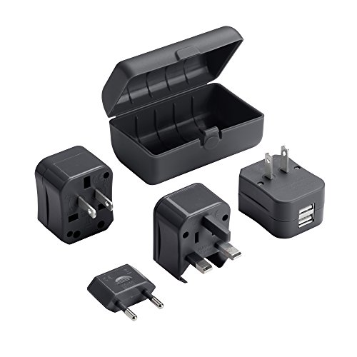 - Lewis N Clark Adapter Plug Kit W/ 2.1a Dual USB Charger, Black