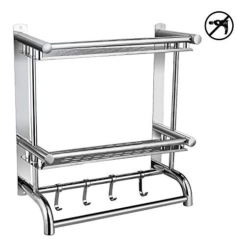 BATHWA Bathroom Shelves with Removable Hooks,Stainless Steel Foldable Wall Mounted Double Towel Holder with Towel Bar,Stainless Steel Towel Shelf for Home/Hotel
