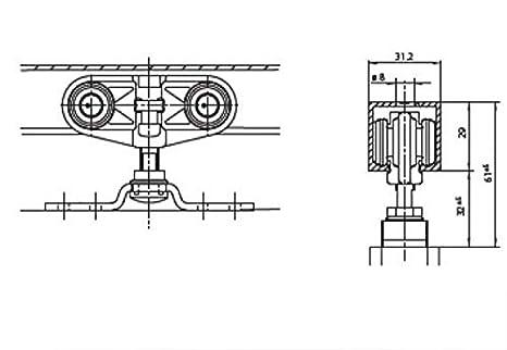GEZE Ferrure pour porte coulissante Rollan 40 N 71-90cm Laufrohr 165cm