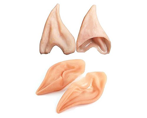 [Latex Fairy Elf Ears Cosplay Accessories Halloween Party Latex Soft Ear Tips -2 Pair] (Elf Ears Halloween)