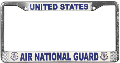 U.S. Air National Guard License Plate Frame (Chrome Metal)