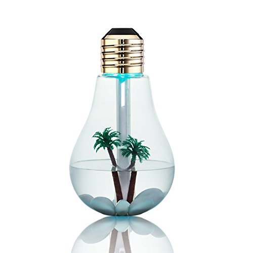 BIENNA Aromatherapy Humidifier,Essential Oil Diffuser, Bulb 400ml Cool Mist Quiet Ultrasonic Vaporizer and LED Night Light with USB [6 Hours Running] [Waterless Auto Shut-Off] for Baby Sleep ()