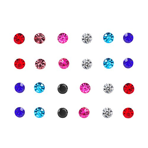 Spiritlele 12 Pairs Colors Crystal Stud Earrings Set CZ Magnetic Click on Non Piercing Earrings Pack (12 colors round)