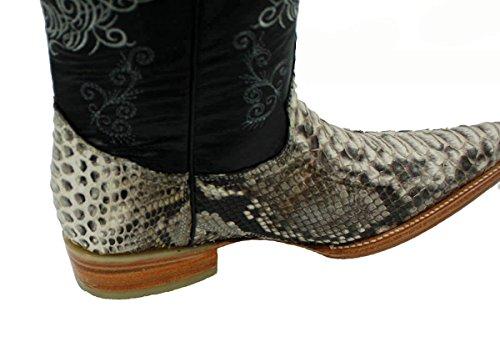 Stivali Da Cowboy Western Da Uomo In Vera Pelle Di Pitone Con Pelle Bianca