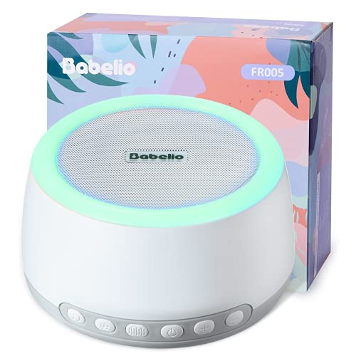 Babelio White Noise Machine with Night Light, Portable Sound Machine for Baby Kids Adults Sleeping with Rechargeable Battery for Cordless Use, 32 Relaxation Noise, Bluetooth, Timer, Memory Feature