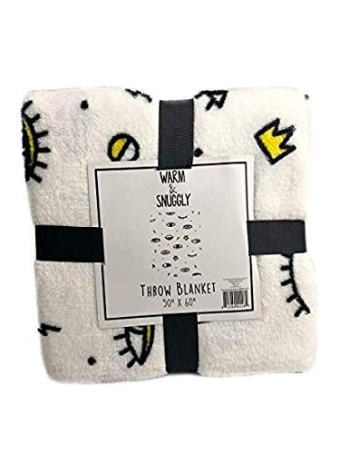 Warm and snuggly Lux and Beyond Emoji Eye Lashes   Lips Plush Soft Cozy Throw  Blanket 0a9e3a2f0