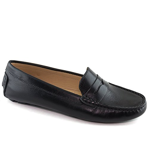 Leather Napa Black Driver Usa Naples In Women's Style Club Brazil Made Loafer Driving CwqZ1w