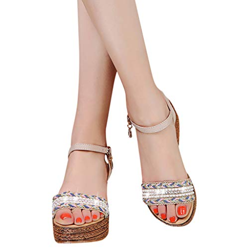 (FarJing Women's Sandals Fashion Casual Crystal Wedge Open Toe Platforms High Heels Shoes(US:7,Beige)