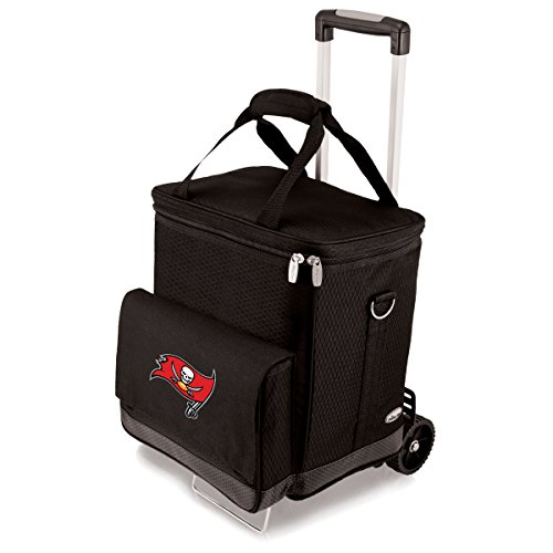 Buccaneer Digital Print Tote (NFL Tampa Bay Buccaneers Insulated Cellar Six Bottle Wine Tote with Trolley)