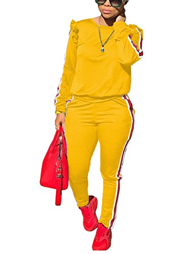 2 Piece Yellow Outfit Ladies Ruffle Sleeve Sweatshirt and Pants Sweatsuits Jogger Set L