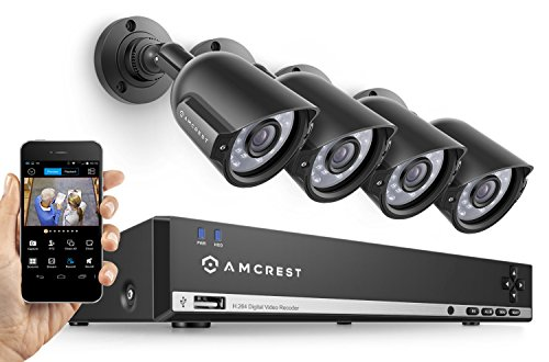Amcrest 960H Video Security System Four 800+TVL Weatherproof Cameras, 65ft Night Vision, 984ft Transmit Range, 500GB HDD