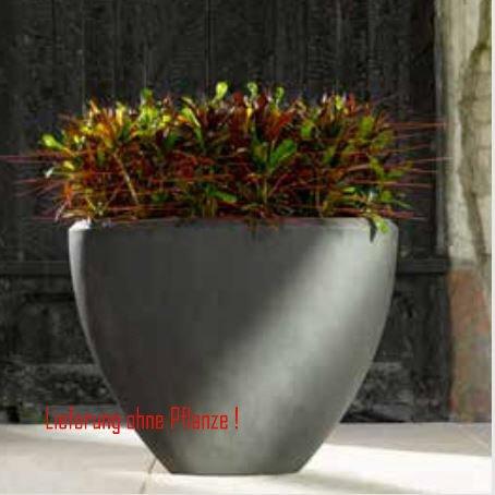 Blumenübertopf Polystone Oval aus gemahlenen Stein und Kunststoff, nur für den Innenbereich geeignet. Farbe Schwarz, 52x24x40cm