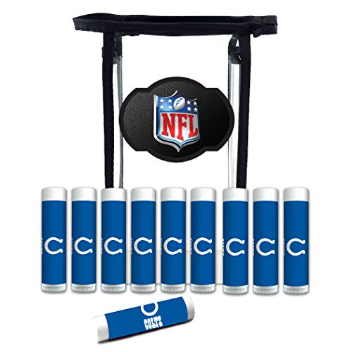 NFL Indianapolis Colts Lip Balm Gift Set for Men and Women 10-Pack | SPF 15, Beeswax, Coconut Oil, Aloe Vera, Cool Mint Flavor