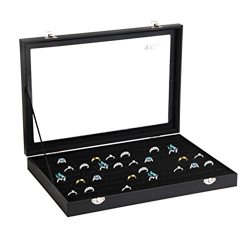 Amzdeal Ring Box 100 Slot Jewelry Display Storage Collector Earring Showcase Ring Tray Organizer - Collector Holder