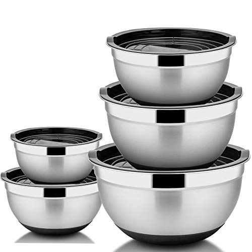 TeamFar Mixing Bowls Set of 5, Stainless Steel Mixing Nesting Bowls Set with Lids, Scale Marks & Silicone Bottom, Non Toxic & Thick, Mirror Finish & Easy Clean - 1.5/2.5/3/4/5qt
