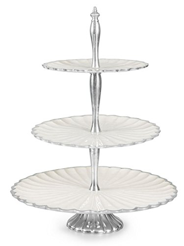 Julia Knight 5780015 Peony Collection Tiered Cake Stand, One Size, Snow