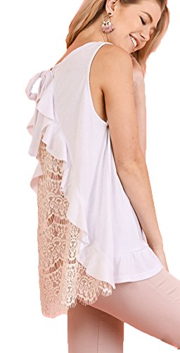 White Ruffled Cotton Camisole - Plan B Fashionista Crochet Tank With Back Drawstring and Ruffled Detail.jpg (S, White)