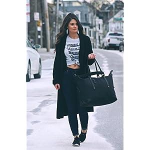 ECOSUSI Weekend Bag Women Holdall Ladies Travel Duffle Bag Foldable Overnight Bag for Women Men Large Capacity Gym Bag