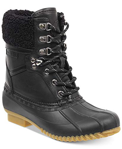 Tommy Hilfiger Womens Rian Faux Leather Ankle Rain Boots Black 7 Medium (B,M)