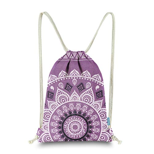 Miomao Drawstring Backpack Gym Sack Pack Mandala Style String Bag With Pocket Canvas Sinch Sack Sport Cinch Pack Christmas Gift Bags Beach Rucksack 13 X 18 Inches Lilac Purple
