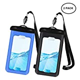 2 Pack Universal Waterproof Case, IPX8 Waterproof Phone Pouch Dry Bag for iPhone7/7plus/6s/6/6s plus Samsung galaxy s8/s7 LG V20 Google Pixel HTC10