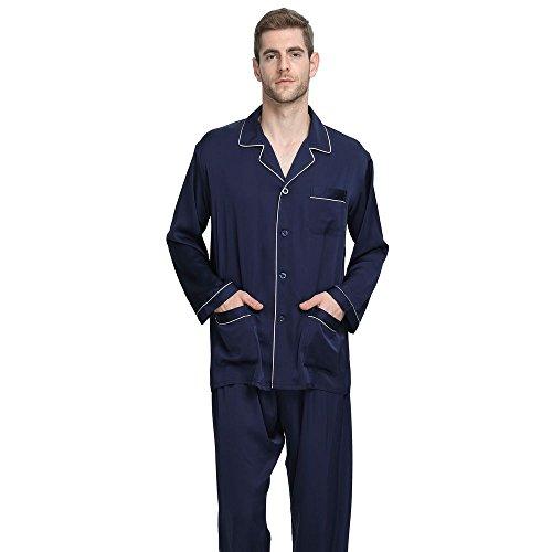 Mens Silk Satin Pajamas Set Sleepwear Loungewear NavyBlue M by Lonxu