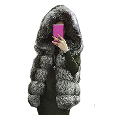 women winter coat Faux fur coat hooded vest stripe long vest S-4XI size