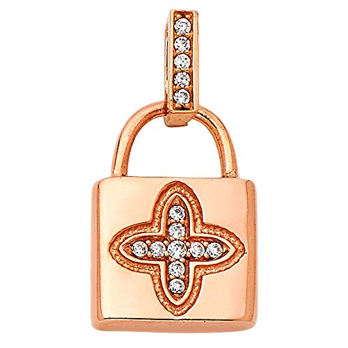 Wellingsale 14K Rose Gold Polished Lock Charm Pendant with CZ Accent
