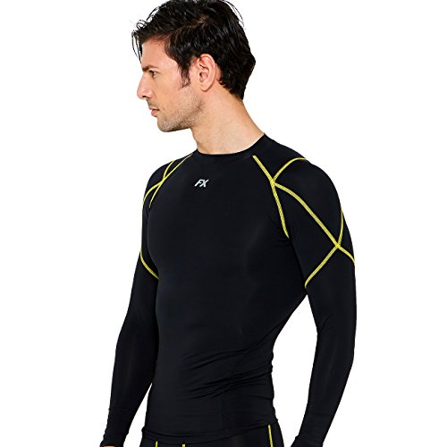 FITEXTREME Mens Sports Light Compression Base Layer Top Long Sleeve Black XL ()