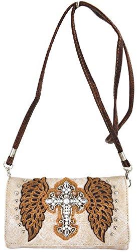 Blancho Ropa de cama Mujer [patrón clásico] Bolsa de cuero de PU Bolsa Handbad bolso elegante Wallet-Ivory