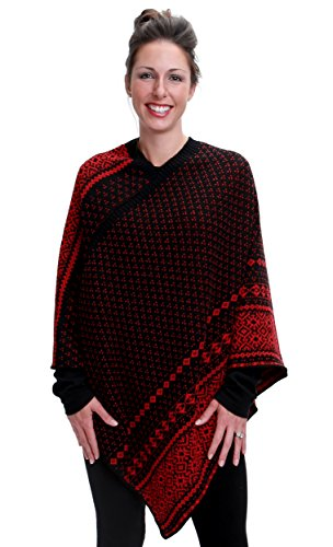 Green 3 Winter Holiday Cable Knit Poncho (Black/Red Nordic Fair Isle Stripe) - Womens Recycled Cotton Sweater Knit Wrap, Made in The USA (One Size)