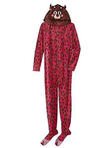 Joe Boxer Womens Pink Fleece Reindeer Footie Pajama Hooded Blanket Sleeper