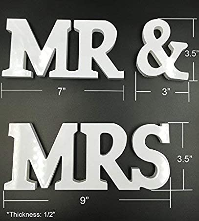 Leateck f-MR board DGQ MR /& MRS Wooden Letters for Wedding Table Signs Vintage Style Wooden DIY Decor for Wedding Decoration 3.5-Inch, White