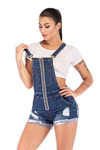 (Women's Classic Denim Bib Strap Ripped Pocket Overall Shorts (XX-Large, Blue 4))
