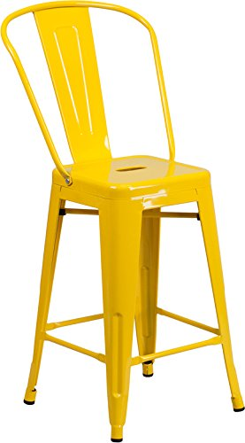 Emma + Oliver 24'' H Yellow Metal Indoor-Outdoor Counter Height Stool w/Back by Emma + Oliver