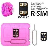 Nik case R m SIM 12 Unlocking Chip for iPhone X, 8, 8p, 7, 7p, 6s, 6sp, 5, 5sp (Black)