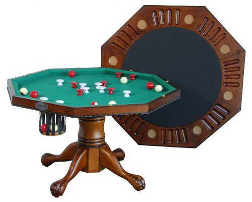 "3 in 1 Game Table - Octagon 48"" Bumper Pool, Poker & Dining in Antique Walnut By Berner Billiards"