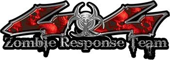 REFLECTIVE Twisted Series Zombie Response Team 4x4 Decal Kit with Red Skulls - Paint Team Graphic Kit