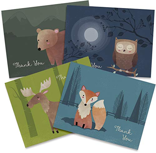 Woodland Animal Thank You Cards - 12 Recycled Cards and Envelopes - 6 Unique Note Card Designs - Made in USA