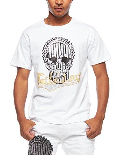 - Mens Premium Rhinestone Detail Skull Print Short Sleeves T-Shirt Top TR508 (S, White)