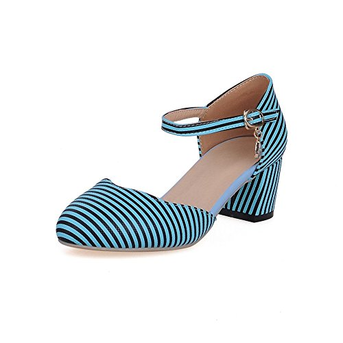 Skyblue Stripe Kitten WeiPoot Closed Shoes Heels Round Pu Women's Buckle Pumps Toe wqnRFZUT