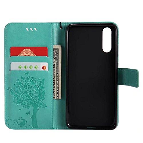 Pu Pro P20 huawei cuero Nova protectora Huawei Lite para Lite Verde Bookstyle Nova Pro P20 Flip 3rd de Monedero 3rd Funda Folio P20 Lite Morado p20 Funda avxwq11