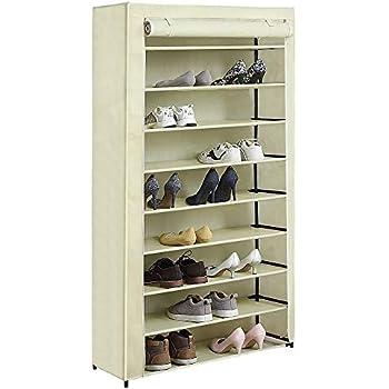 HOME BI 10 Tiers Shoe Rack With Cover, Shoe Storage Closet Organizer, 34.64  X 11.8 X 61 Inch (Beige)