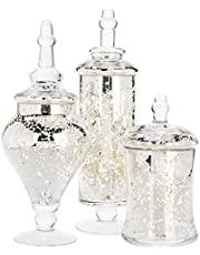 MyGift Set of 3 Silver Mercury Glass Apothecary Jars, Weddings Centerpiece Candy Buffet