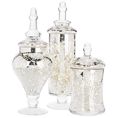 MyGift Set of 3 Silver Mercury Glass Apothecary Jars, Weddings Centerpiece Candy Buffet (Glass Mercury Set)
