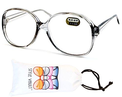 E3035-vp Style Vault Oversized Reading Eyeglasses (B1867F +1.50 Crystal - Nerd Reading Style Glasses