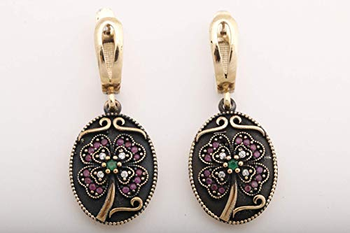Turkish Motif Handmade Jewelry Oval Shape Round Cut Ruby Emerald Topaz 925 Sterling Silver Drop/Dangle Earrings